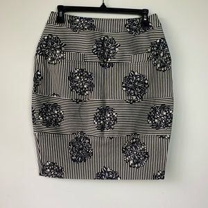 Opening Ceremony B/W Stripe Floral Pencil Skirt M
